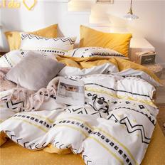 简约小清新全棉纯棉四件套网红款被套床笠床单床上用品